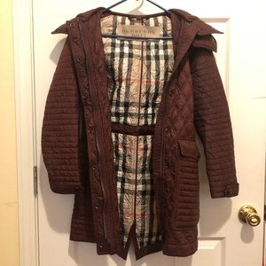 Burberry Brit red quilted hooded coat jacket